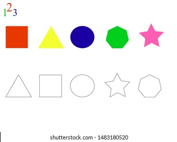 Сonnect and paint over a shape. Game for kids. vector