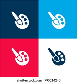 Paint palette four color material and minimal icon logo set in red and blue