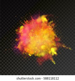 Paint powder explosion on transparent background. Yellow and Red dust explode for celebration or holiday design element