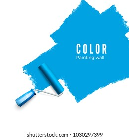 Paint roller brush. Color paint texture when painting with a roller.  Painting the wall in blue. Vector illustration isolated on white background