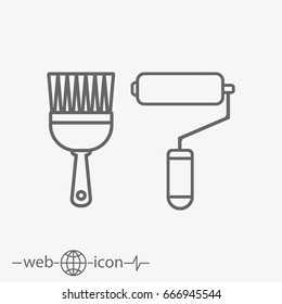 paint roller and paint brush vector icon