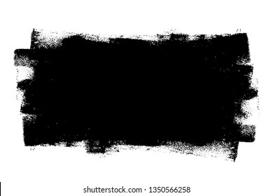 Paint roller distress overlay texture. Dirty isolated basis. Artistic messy banner background. Grunge design element. EPS10 vector.