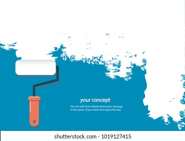 paint roller isolated with space for text and blue background