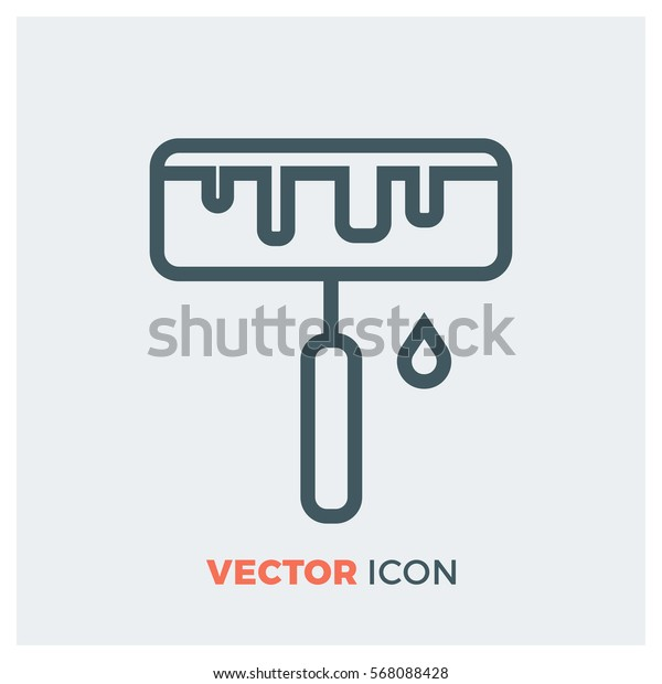 paint roller line vector icon