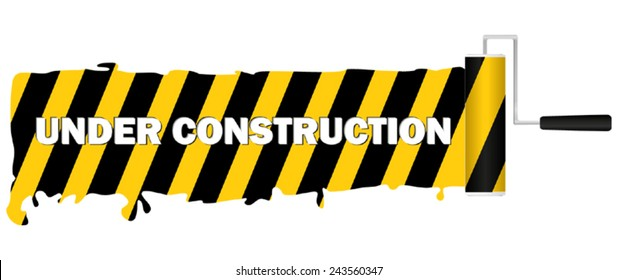 Paint roller with painted yellow black stripe and under construction sign