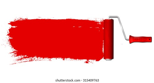Paint roller and red color background - place for your text. Isolated on white background. Vector illustration.
