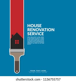 paint roller paint red color over house logo isolated on blue background. creative home renovation service and painting concept, logo design template with space for your company text.