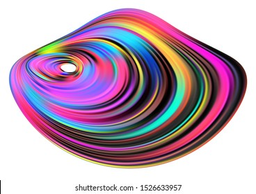Paint Splash blot. Concentric spot abstract background Volume stairs surfaces with shadow. Liquid gasoline stain. Colorful film. 3d map for mountain. Blur mesh grids levels.