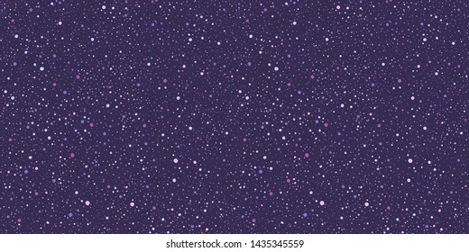 Paint splash, spray, uneven dots, blobs, blots, spots seamless vector pattern, texture. Chaotic grunge splatter, spatter, flecks, specks hand drawn background. Lilac, lavender, violet, purple colors.