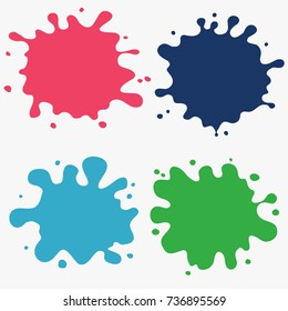 Paint splat set ink. Splat drop vector. Blood splash. Paint blob. Color Stain
