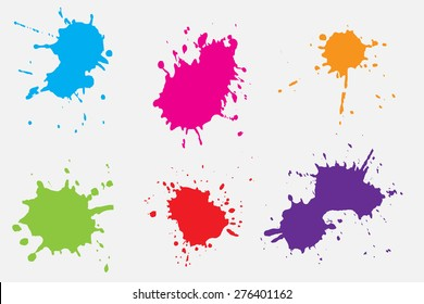 Paint splat set.Paint splashes set for design use.Abstract vector illustration.