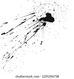 Paint splats blotch isolated on white background. Abstract grunge design element of distress texture. Vector blot