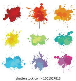 Paint splats ink isolated on white