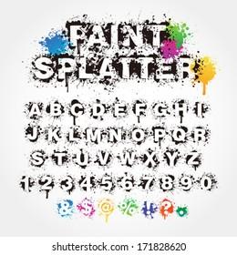 Paint splatter alphabet