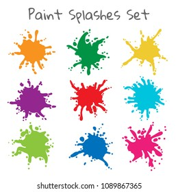 Paint splatters. Vector colorful painted splashes or color stains, inkblot blob shapes isolated on white background