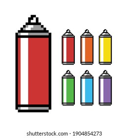 Paint Spray Can in  8bit Pixel Art Style