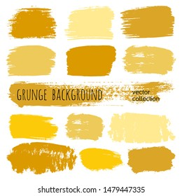 Paint stains grunge collection. Set of colorful grungy hand drawn brush strokes isolated on white. Abstract ink texture, design elements, borders or frames. Brush strokes set backgrounds.