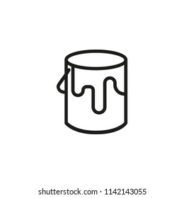 Paint for wall line icon. Bucket, jar, decor. Renovating concept. Vector illustration can be used for topics like decorating, home improvement, repair