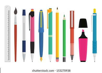 Paint and writing tools collection - Pen, pencil, marker, brush, ruler - Flat Style Vector Set