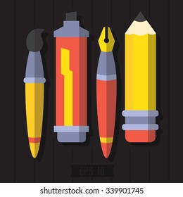 Paint and writing tools collection. Pen, pencil, marker, brush. Flat Style Vector Set.