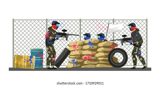 Paintball blue team admit defeat. Players sitting behind sandbag cover showing white flag at competitors gunpoint. Enemy capitulation. Gaming cartoon scene. End, game over. Vector illustration
