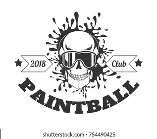 Paintball club 2018 monochrome logotype with skull in mask and spilled paint behind isolated cartoon flat vector illustration on white background. Game with artificial guns promotional emblem.