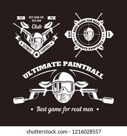 Paintball game sport club logo templates of gamer shooting target or paint ball gun and man skull in paintball mask with ribbons and stars. Vector isolated icons set