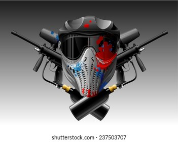 Paintball mask and guns