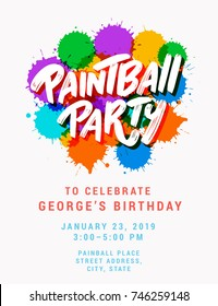 Paintball party. Invitation template.