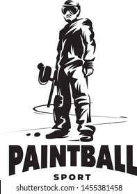 Paintball player with gun. Standing position. Monochrome vector emblem.