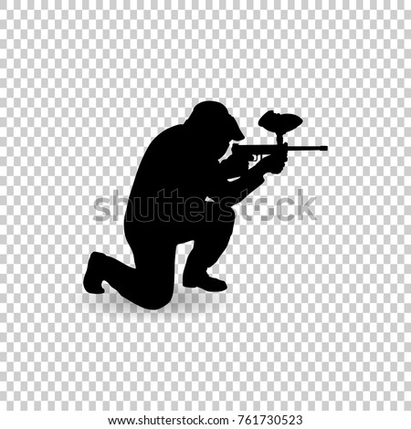 Paintball player icon in outline style isolated on white background. Paintball symbol stock vector illustration