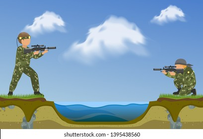 Paintball players shooting in each other on two sides of river banner. Extreme sport vector illustration. Two man taking part in tournament in nature. Fighting with guns.