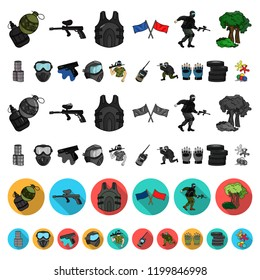 Paintball, team game cartoon icons in set collection for design. Equipment and outfit vector symbol stock web illustration.
