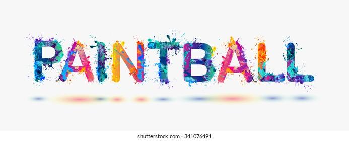 PAINTBALL. Word written spray paint