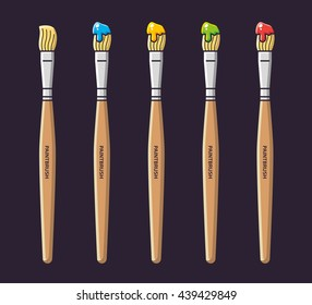 Paintbrushes with paint in different colors, vector icons set.