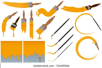 Paintbrushes and yellow paint illustration