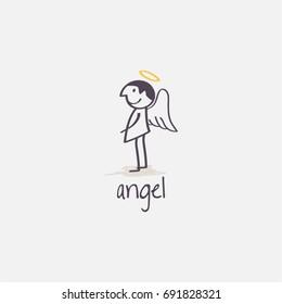 Painted angel illustration, holiday, hand drawn angel