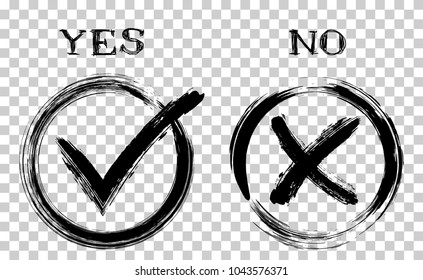 Painted black symbolic OK and X approval icons in round frames. Tick and cross signs, check marks graphic design. YES and NO approve and reject symbol vector labels on transparent background.