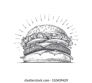painted burger, great delicious sandwich, vector illustration, vintage style