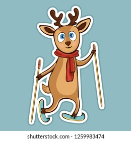 Painted cute funny deer in scarf with ski poles ride skiing sticker, print, colorful hand drawing, cartoon character, vector illustration, caricature, isolated with white stroke on colored background