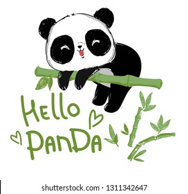 Painted Cute panda bear sitting on the bamboo. Handwritten - Hello Panda. vector illustration.