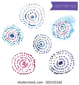 Painted Cute Watercolor Circles Vector