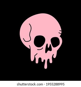 Painted dripping skull pink color T-shirt design. Download it now.