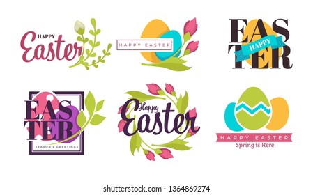 Painted eggs and green branch Easter holiday isolated icons vector religious event symbol Christianity color dairy product shell and greenery emblem or logo stem with leaves celebration and greeting