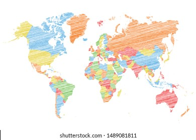 Painted Global World Map Vector