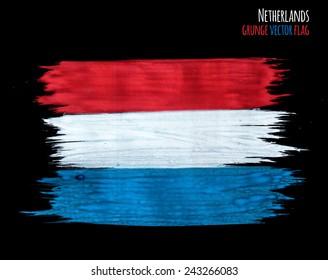 Painted grunge Netherlands flag, brush strokes on black background. Vector illustration