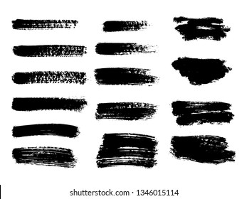 Painted grunge stripes set. Black labels, background, paint texture. Brush strokes vector. Handmade design elements. Vector illustration