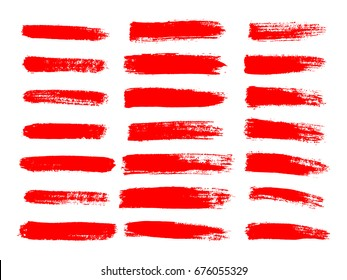 Painted grunge stripes set. Red  labels, background, paint texture. Brush strokes vector. Handmade design elements.