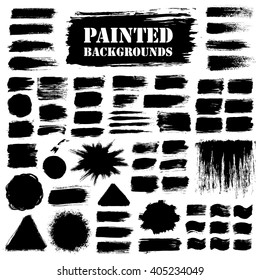 Black grunge background set, paint texture. Brush strokes with paint splash. Brush paint grunge border. Brush stroke vector, paint brush grunge texture, grunge banners, grunge elements for your design - stock vector