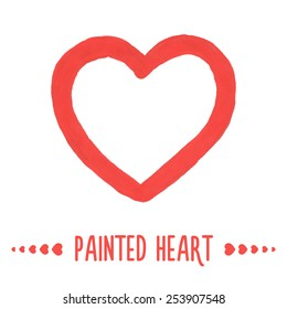 Painted hand drawn outlined heart. Vector illustration